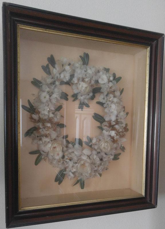 Gwen Bortner's family chicken feather wreath