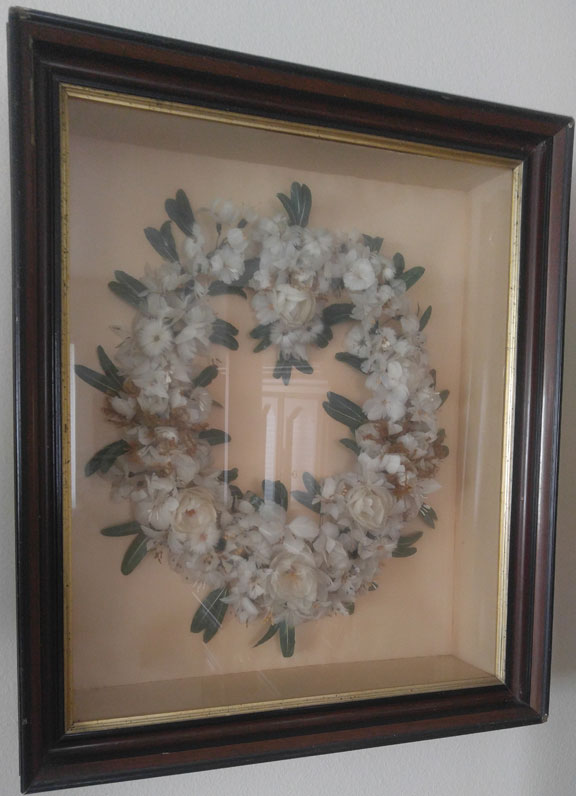 Gwen Bortner's family chicken feather wreath